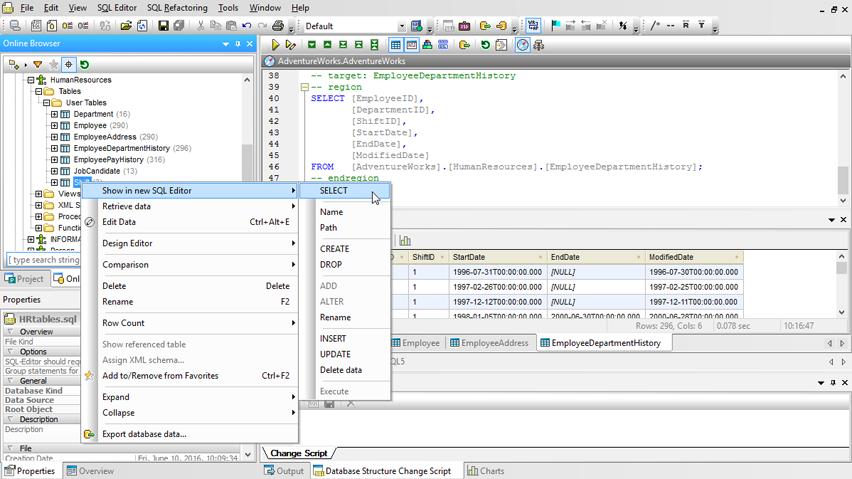 zrzut ekranu widoku zestawień w oprogramowaniu Altova DatabaseSpy