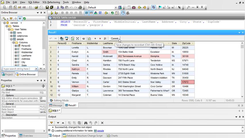 zrzut ekranu widoku tabeli w oprogramowaniu Altova DatabaseSpy