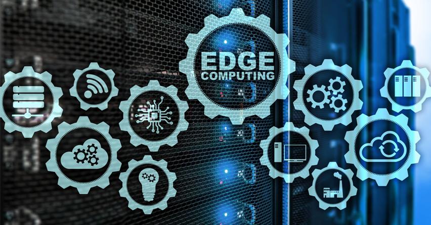 niebieska grafika z ikonami i napisem Edge Computing