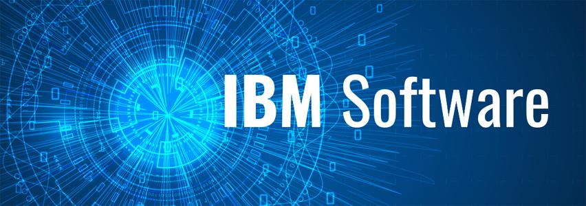 niebieska grafika z napisem IBM Software