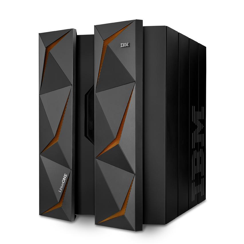 serwery biznesowe IBM czarna obudowa z pomarańczowymi podświetleniami